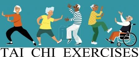 Illustration pour Groupe diversifié de personnes âgées faisant un exercice de tai chi, illustration vectorielle EPS 8 - image libre de droit