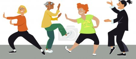 Illustration for Diverse group of mature women doing tai chi exercises with an instructor, EPS 8 vector illustration - Royalty Free Image
