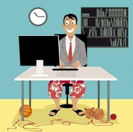Illustration for Man in a business suit coat and swim shorts sitting in front of a computer, having a video job interview or working from home, EPS 8 vector illustration - Royalty Free Image