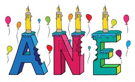 Illustration pour Ane prénom féminin mordu 3d coloré lettrage gâteau d'anniversaire avec des bougies et des ballons . - image libre de droit