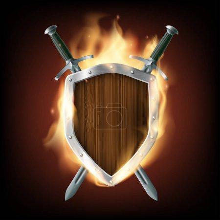 Photo pour Icône des armes, un bouclier en bois avec des épées en feu. Illustration de stock. - image libre de droit