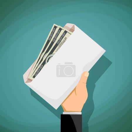 Photo pour L'homme possède une enveloppe avec l'argent. La corruption et la corruption. Illustration de stock. - image libre de droit