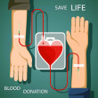 Blood donation. Bag in shape of a human heart. Sto...
