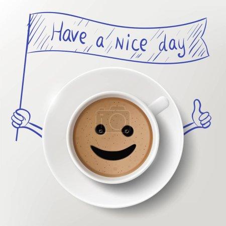 Illustration pour Tasse de café et image doodle avec un message Have A Nice Day. Illustration vectorielle de stock . - image libre de droit