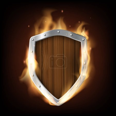 Icon military wooden shield is burning. Isolated o...