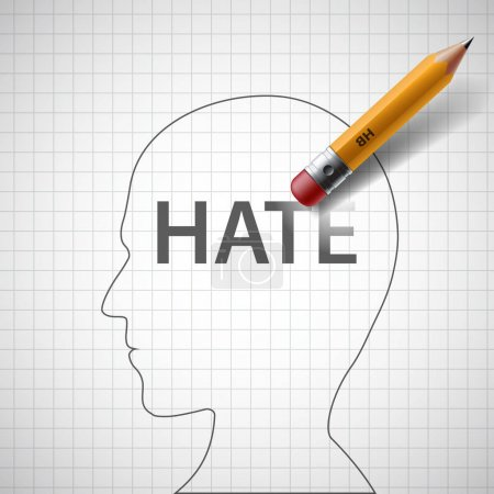 Pencil erases in the human head the word hate.