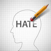 Pencil erases in the human head the word hate Xenophobia and misanthropy Stock vector illustration