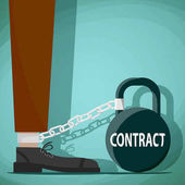 Man chained to the weight with the word contract