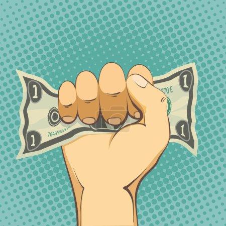 Human hand holding a dollar bill.