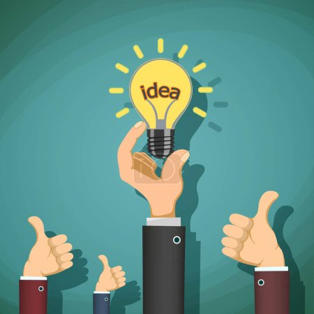 Man holds in his hand light bulb with the word idea. Stock vecto