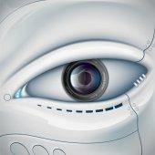 Robot face with the camera lens in the eye Stock vector futuris