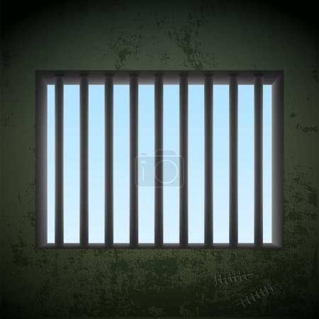 Window with bars in a prison cell. Stock vector.