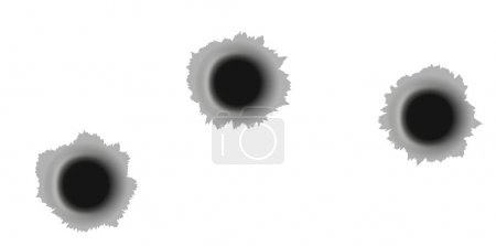Holes from the bullets isolated on white background. Stock vecto
