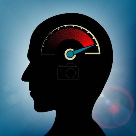 Illustration for Speedometer with arrow in human head, nervous stress and fatigue concept - Royalty Free Image