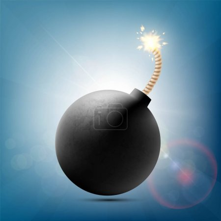 Round metal bomb with a burning fuse. Stock vector...