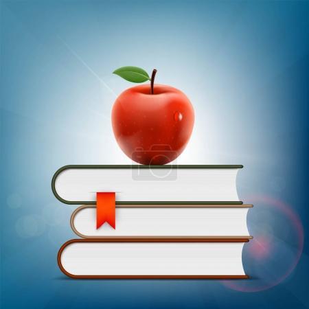 Red apple lying on a pile of books. Vector illustr...
