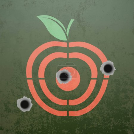 Military target in the form of fruit apple.
