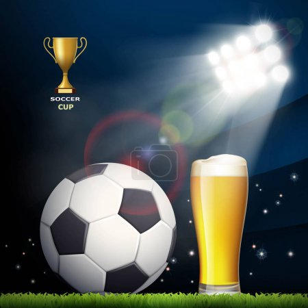 Soccer ball and a glass of beer