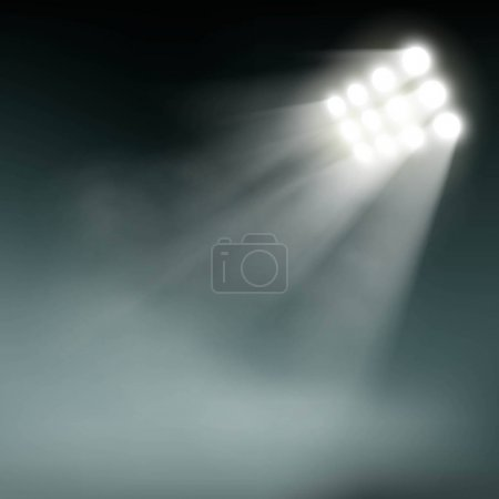 Stadium lights on dark background.