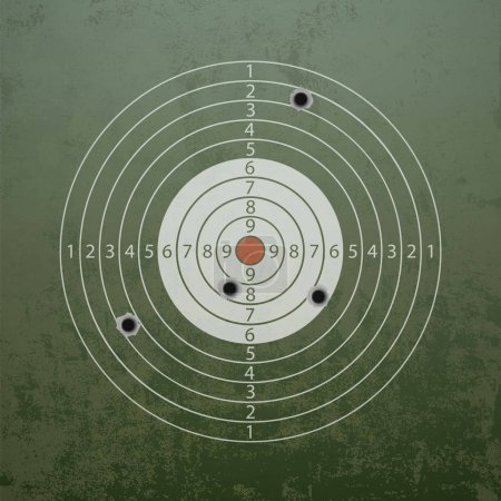 Military target with bullet holes