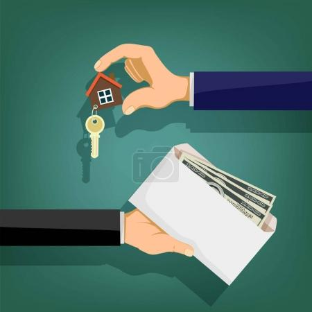 Illustration for Two people hold in their hands an envelope with money and a key. Sale and purchase of real estate. Stock vector illustration. - Royalty Free Image