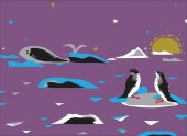 Penguins on a drifting ice and a whale in the background wildlife of Antarctica drawn in simple manner