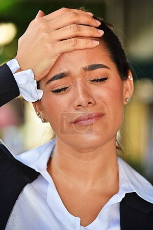Business Woman With Fever Wearing Suit