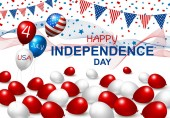 Vector USA balloon design of american flag on white background for 4 july independence day