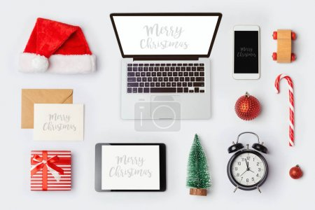 Photo for Christmas mock up template with laptop computer for branding identity design. View from above. Flat lay - Royalty Free Image
