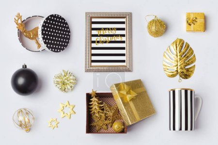 Christmas decorations in black and gold