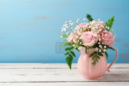 bouquet in pink vase