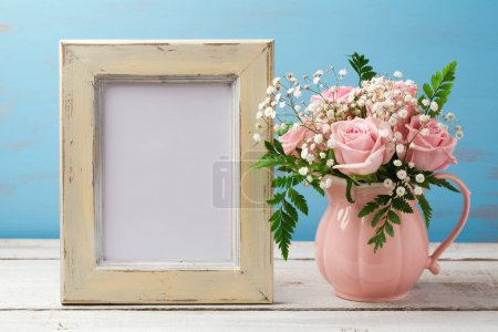 template with rose flowers bouquet