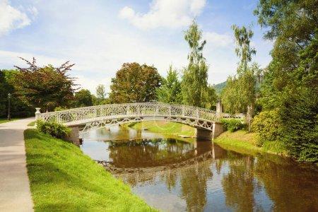 vintage bridge over river