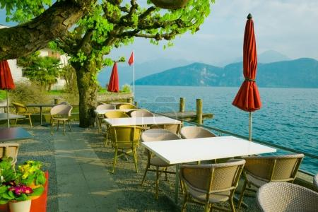 restaurant over lake and mountains