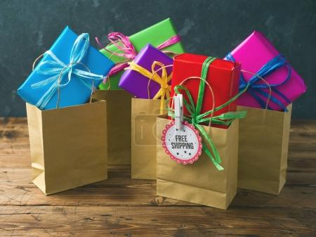 shopping paper bag and gift boxes