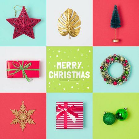 Photo for Christmas holiday banner design with santa hat, gift box and decorations. View from above. Flat lay - Royalty Free Image