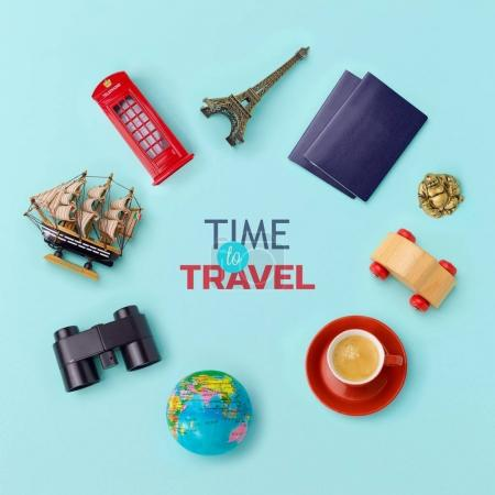 Photo for Summer vacation banner design. Travel and tourism concept. Top view. Flat lay - Royalty Free Image