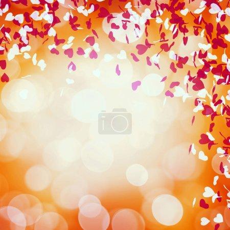 Photo pour Carte Saint-Valentin avec confettis coeurs - image libre de droit