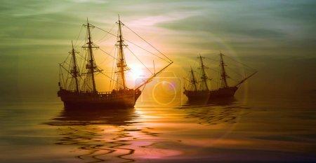 Photo pour Voiliers contre un magnifique coucher de soleil - image libre de droit