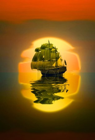Old ship drifting over sea