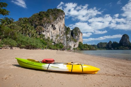 Lonely kayak at the seashore of Krabi, Thailand