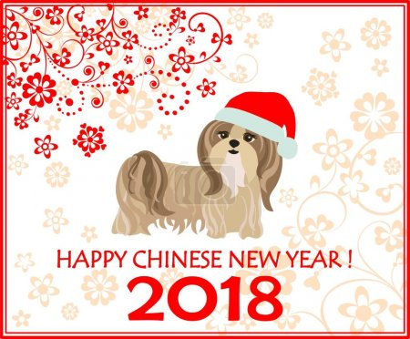 Decorative greeting card with puppy of shi tsu for Chinese New year 2018