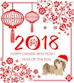 Greeting applique for 2018 Chinese New Year with decorative floral pattern, hanging chinese lantern and funny puppy shitsu in santa hat