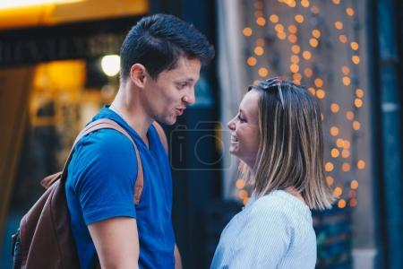Photo for Young couple having date in city street - Royalty Free Image