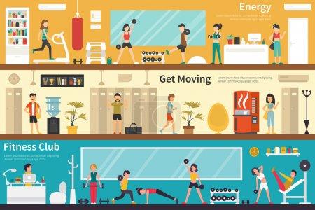 Illustration pour Web d'intérieur extérieur concept énergétique se déplaçant Fitness Club fitness plate. Carrière graphique Fun - image libre de droit