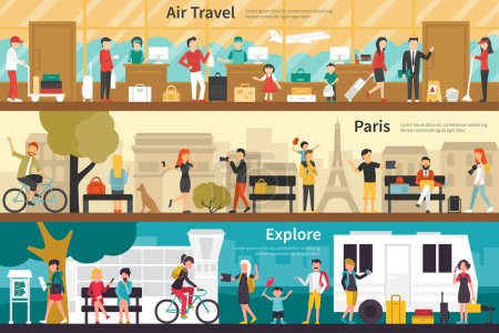 Illustration for Air Travel Paris Explore flat tourism interior outdoor concept web. Career Chart Fun - Royalty Free Image