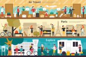 Air Travel Paris Explore flat tourism interior outdoor concept web Career Chart Fun