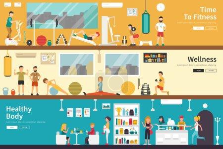 Illustration pour Web temps de remise en forme bien-être corps sain plate fitness concept extérieur intérieur. Carrière graphique Fun - image libre de droit