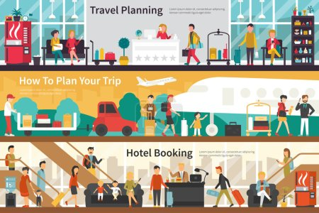 Illustration for Travel Planning How To Plan Your Trip Hotel Booking flat tourism interior outdoor concept web. Career Chart Fun - Royalty Free Image