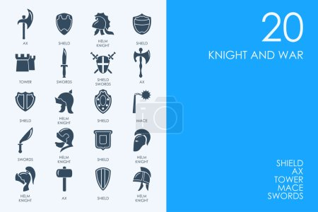 Library knight and war icons